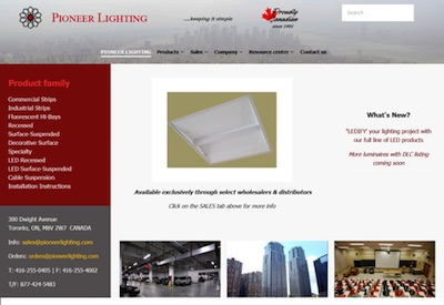 Pioneer Lighting Launches New Interactive Website